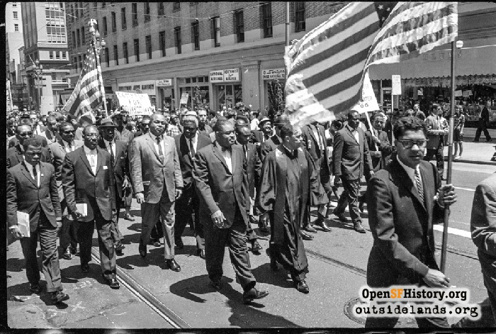 Civil rights march on Market Street passing Sheraton Palace Hotel, July 12, 1964.