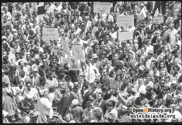 Civic Center crowd at Civil Rights march, July 12, 1964.