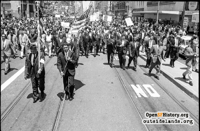 Civil Rights march on Market Street near Mason Street, July 12, 1964.