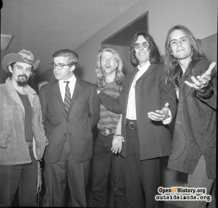 Grateful Dead and friends in the hallway after sentencing for their marijuana bust.