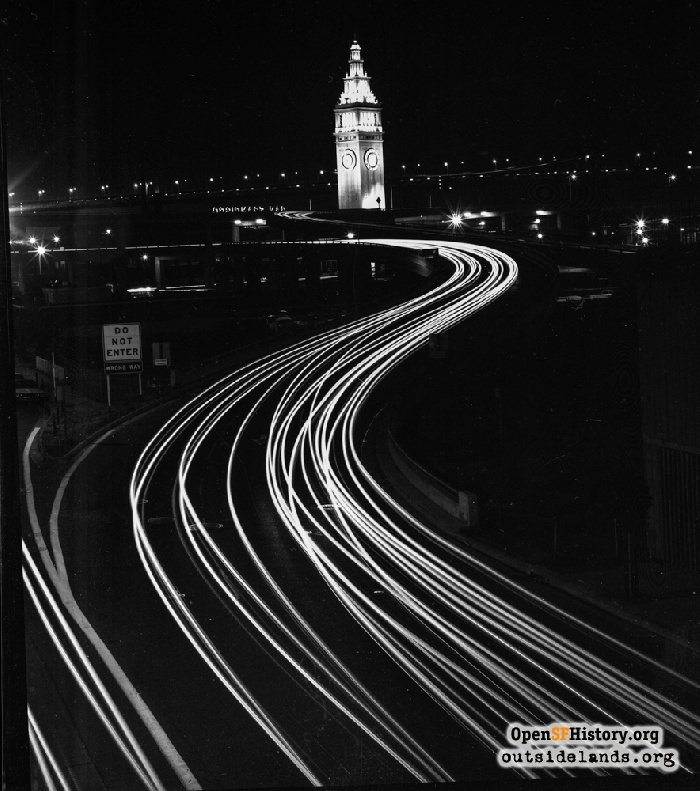 Embarcadero freeway and Ferry Building at night, 1973.