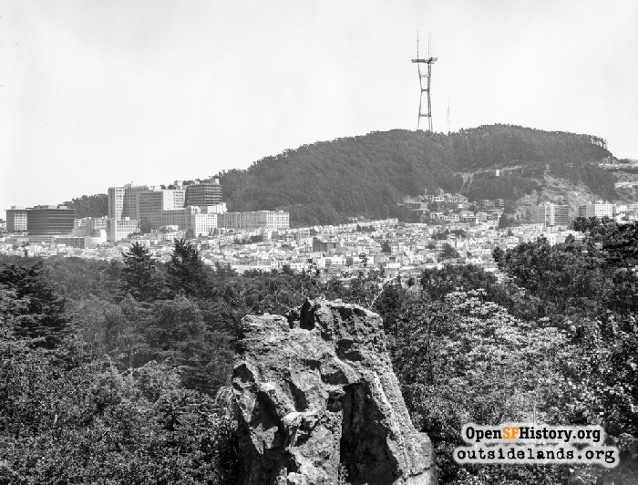 View southeast from Strawberry Hill toward Mt. Sutro, 1973.