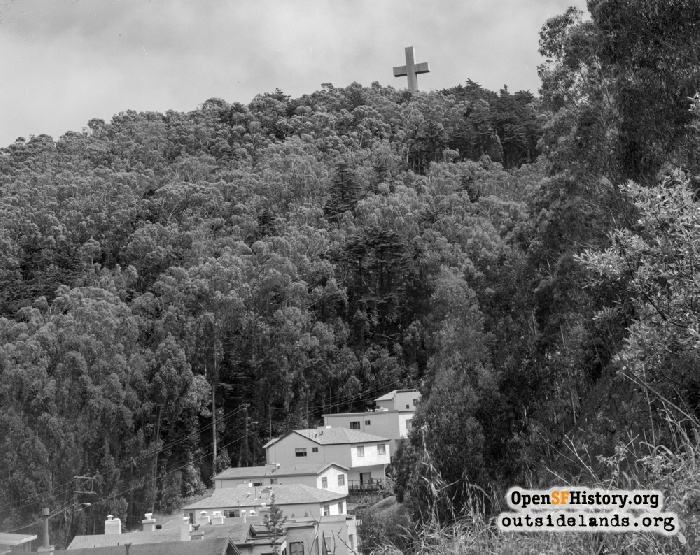 View northeast from Sherwood Forest. Dalewood Way in foreground and Mount Davidson Cross above, 1973.