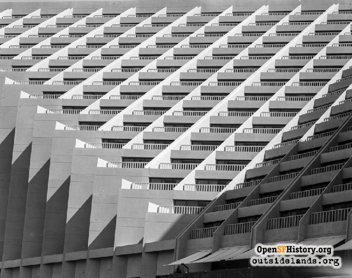 Terraced balconies of Hyatt Regency Embarcadero hotel, 1973.
