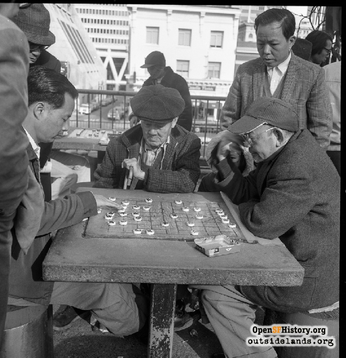 Men playing xiangqi in Portsmouth Square, 1974.