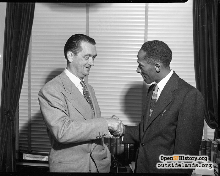 District Attorney Thomas Lynch with Assistant District Attorney Cecil Poole, 1951.