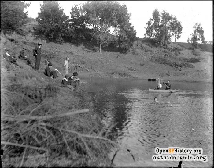 Swimmers and rowers on Pine Lake, 1903.