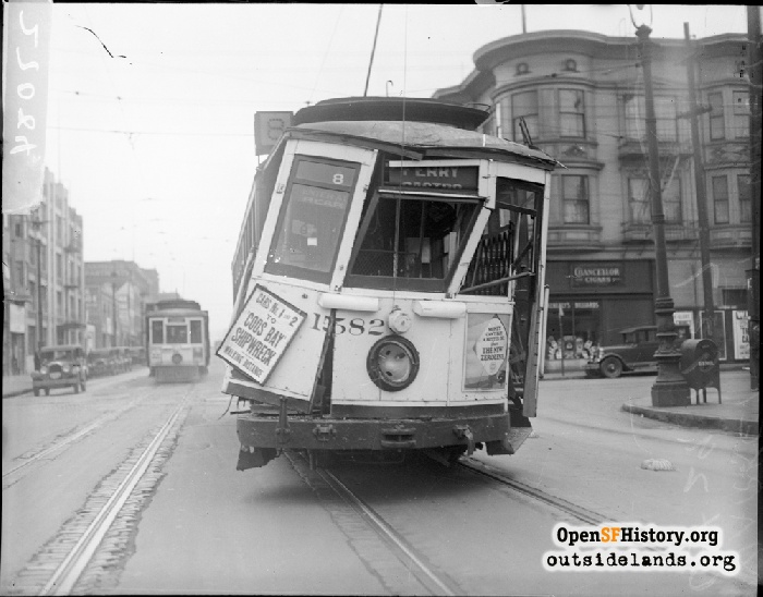 Wrecked streetcar on Valencia Street at 14th Street, 1927.