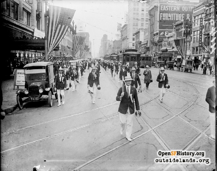Ohio delegation marching down Market Street during Democratic Convention, July 1920.