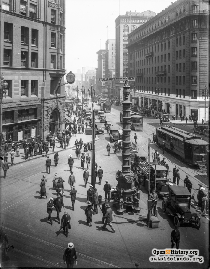 View down Market Street from Geary, circa 1920.