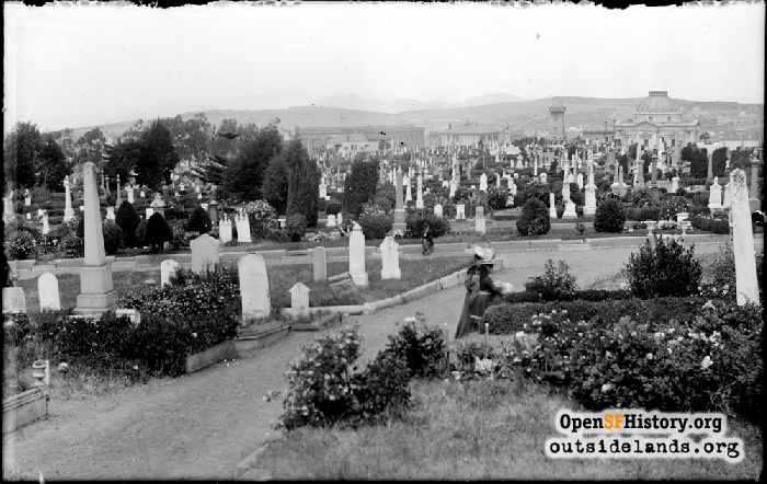 View north across Odd Fellows Cemetery with Columbarium in back right, circa 1900.