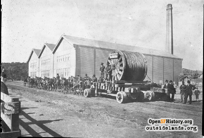 First cable delivered to McAllister Car Barn and Powerhouse, July 1883.