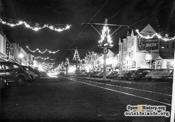 West Portal Avenue with Christmas decorations, December 1947.