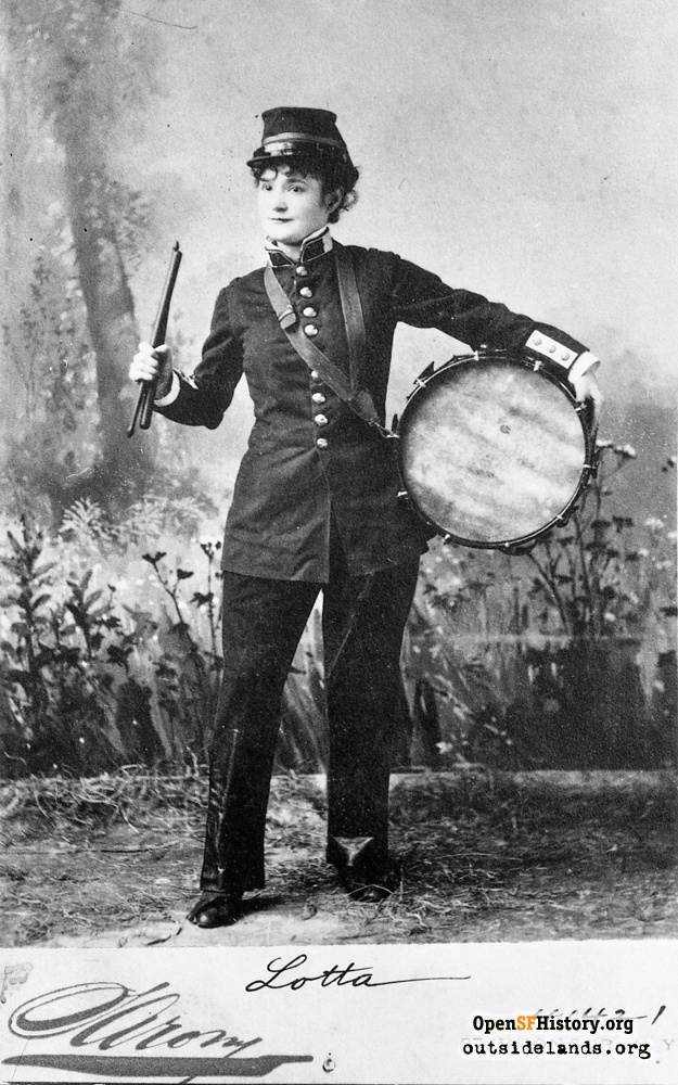 Lotta Crabtree posed in drummer boy's uniform, 1870s.
