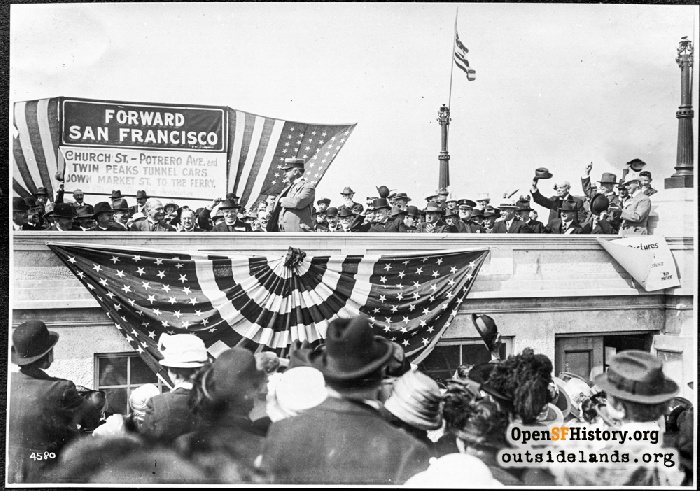 J-Church streetcar line dedication ceremony, Dolores Park, August 11, 1917.