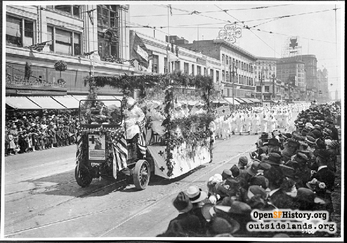 Red Cross Parade on Market Street near McAllister, May 18, 1918.