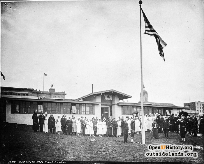 Flag ceremony at Red Cross Building at Fulton and Hyde, November 1918.