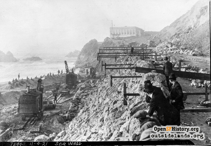 Construction work on Point Lobos Avenue/Great Highway, November 4, 1921.