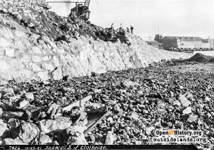 Construction work on Point Lobos Avenue/Great Highway seawall, December 27, 1921.