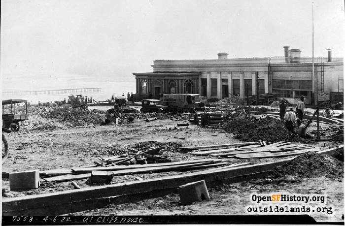 Point Lobos Avenue construction work by Cliff House, April 6, 1922.