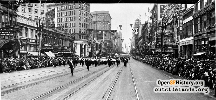 Labor Day parade marchers on Market Street near Mason, September 7, 1925.