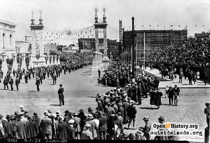 Civic Center bleachers for Labor Day Parade, September 7, 1925.