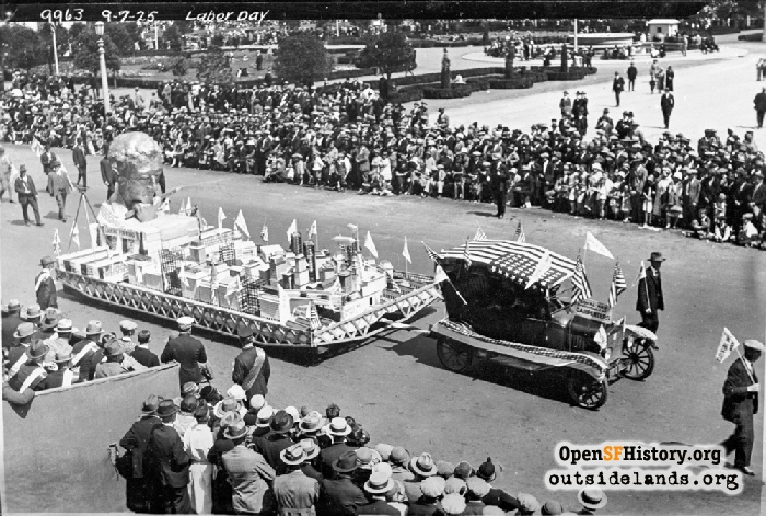 Carpenters Union float passing City Hall during Labor Day Parade, September 7, 1925.
