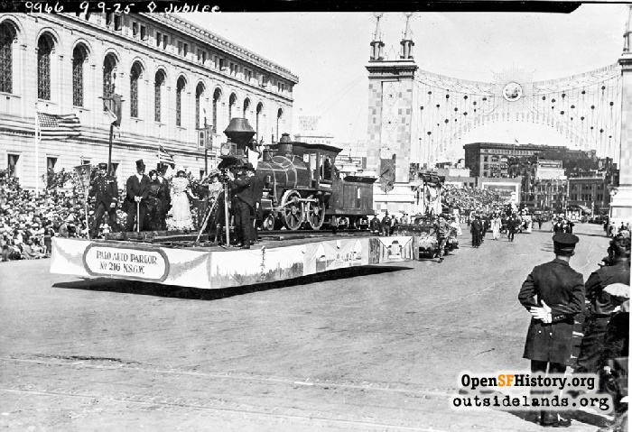 Native Sons of the Golden West float during Diamond Jubilee Parade, September 9, 1925.