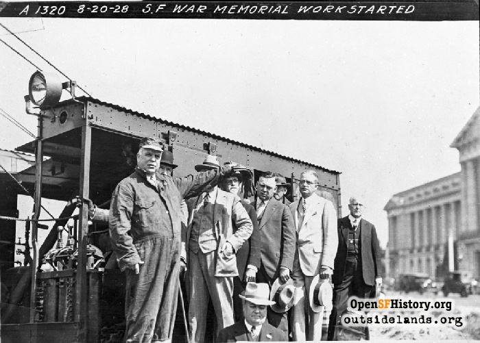 Mayor Rolph in front of steam shovel he operated during War Memorial ground-breaking ceremony, August 20, 1928.