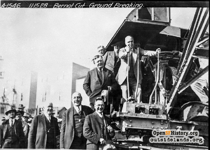 Mayor Rolph at controls of steam shovel during Bernal Cut ground-breaking ceremony, November 15, 1928.