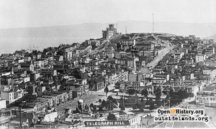 View to Telegraph Hill and Layman's Folly, circa 1895.