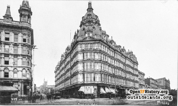 A Perkins street view of the opulent Baldwin Hotel at Market and Powell, 1885.