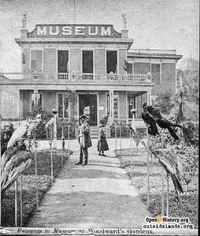 Entrance to Museum at Woodward's Gardens, 1869.