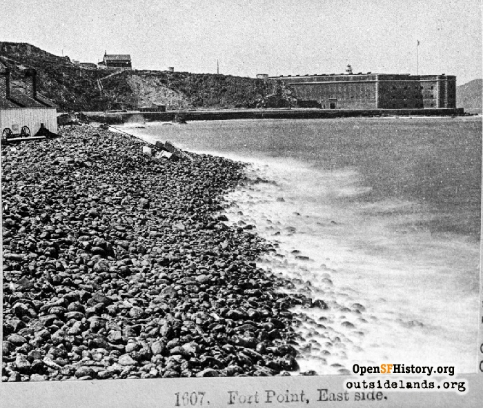 East side of Fort Point after seawall completed, circa 1870.