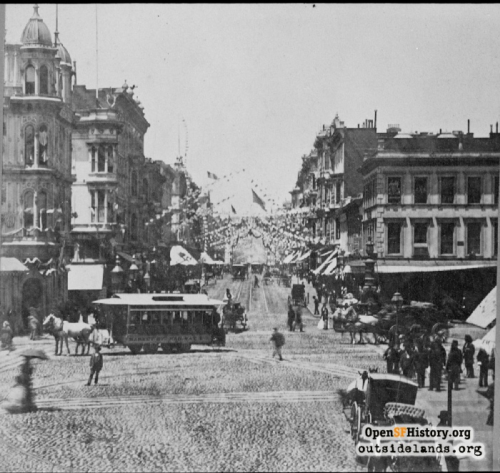 Looking north up Kearny Street from Market, July 4, 1876.