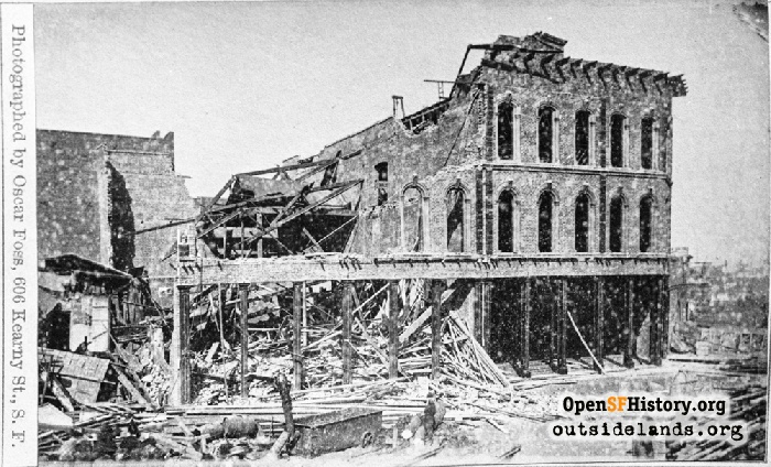 Damage at Market Street and First after the October 21, 1868 earthquake.