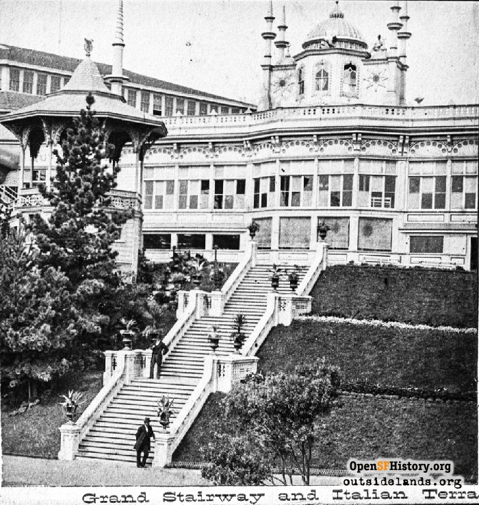 Grand Stairway and Italian Terrace at Woodward's Gardens. Band stand at left.