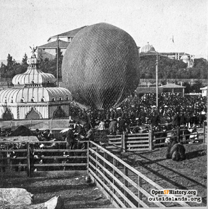 Balloon ascension at Woodward's Gardens, circa 1870.