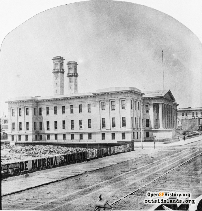 Looking north on 5th Street across Mission at the Old Mint in May 1875, shortly after it opened.
