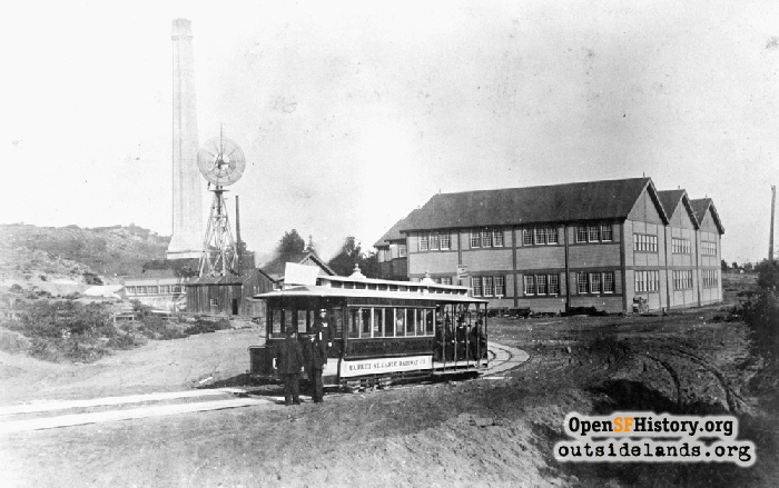 Looking east at McAllister Car Barn and Powerhouse, circa 1890.
