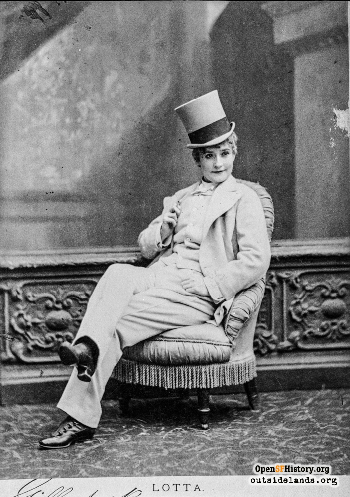 Lotta Crabtree posed in men's clothing, 1870s.