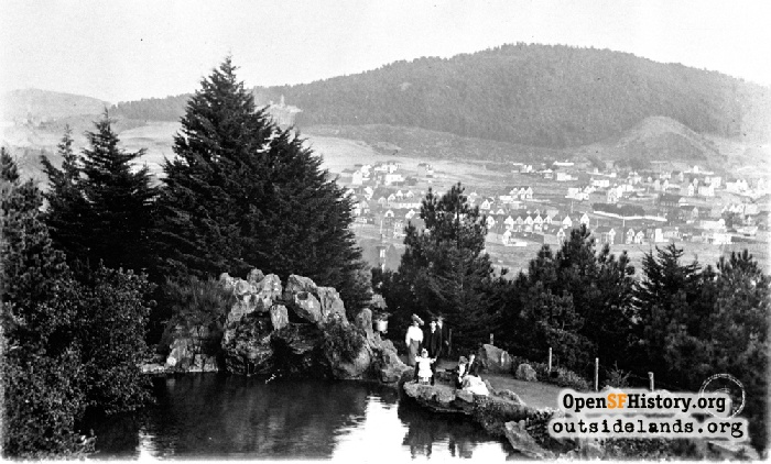 View southeast from Strawberry Hill toward Mt. Sutro, early 1900s.