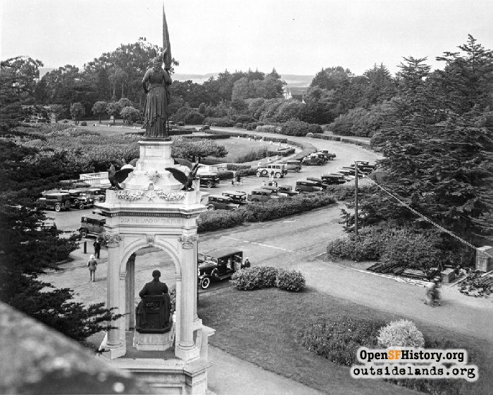 Music Concourse and Francis Scott Key Monument from roof of the Academy of Sciences, circa 1930.