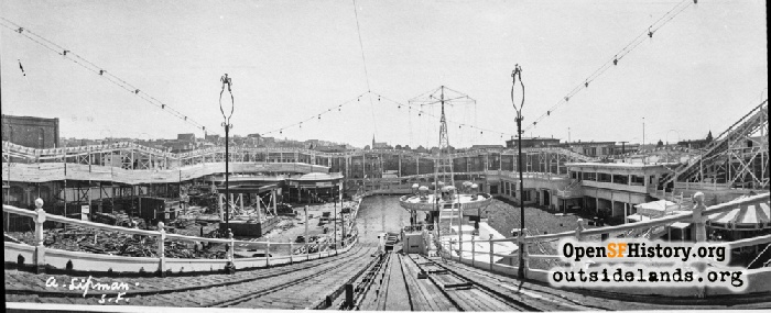 Looking down Chutes ride under construction, 1909.
