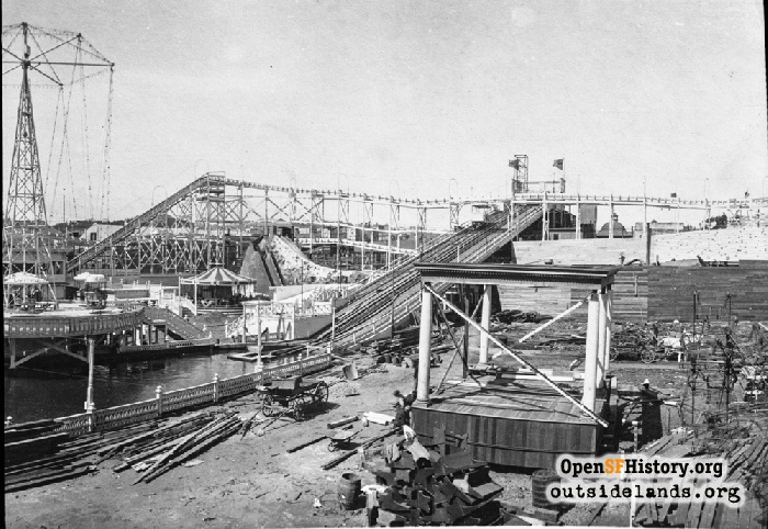 Fillmore Chutes under construction, 1909.