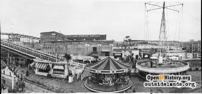 View north of attractions at Fillmore Chutes during construction of expanded area, 1909.