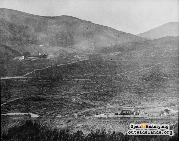 View southeast from Strawberry Hill toward Mt. Sutro, circa 1886.