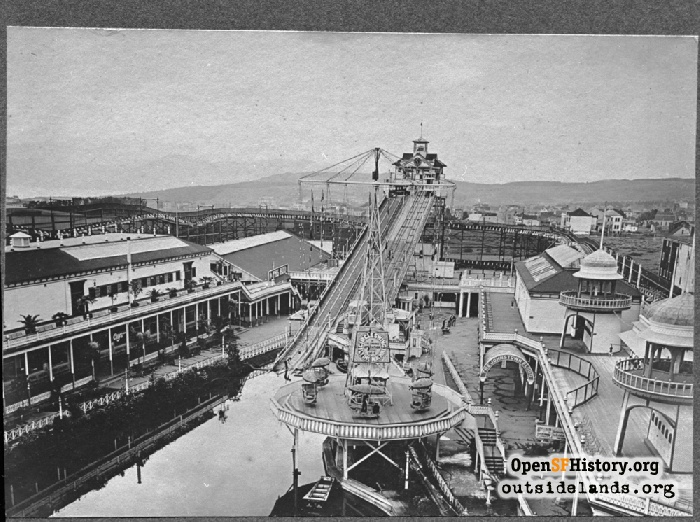 Elevated view of Fulton Chutes, circa 1907.
