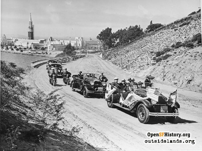 President Roosevelt's motorcade on Yerba Buena Island departing 1939-1940 Worlds Fair on Treasure Island, still under construction.