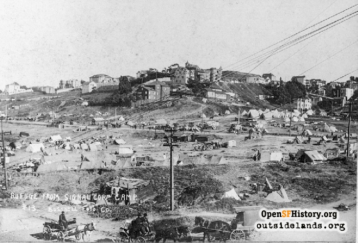 View southeast from Fort Mason toward Russian Hill and refugee camp, 1906.
